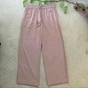 Zara Blush Trouser Drawstring Leather Side Stripe